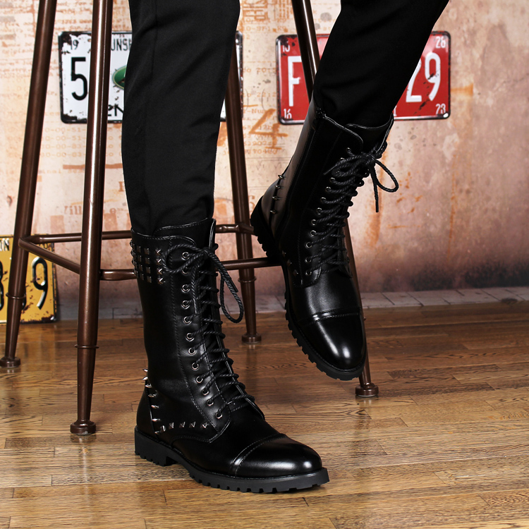 British design mens casual mid-calf martin punk motorcycle high boots rivets spring autumn genuine leather shoes lace-up zapatos cool mens ankle boots with rivets casual motorcycle boots mens genuine leather shoes mens winter shoes black business boots