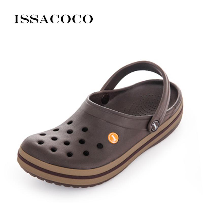 ISSACOCO Summer Slippers Holes Shoes Sandals Men's Hole Slippers Sandals Men's Breathable Beach Shoes Zapatos Hombre Pantuflas