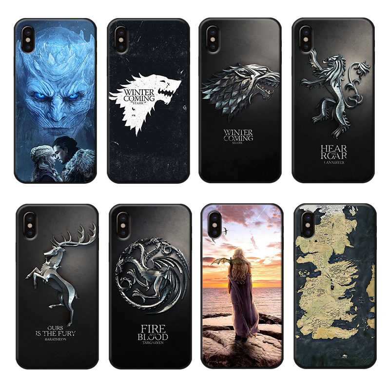 Game of Thrones Phone Case for iPhone 6 6s 7 8 Plus X XR XS Max Soft Shockproof Silicone Cover Jon Snow Dany Luxury