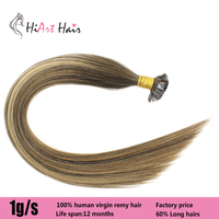 HiArt 1g/pc Flat Tip Hair Extensions In Human Remy Hair Extension Salon Keratin Balayage Double Drawn Straight 182022