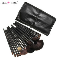 BLUEFRAG 24pcs Black Brushes Set Tools Professional Makeup Brushes Portable Full Cosmetic Brush Tools Kits Facial Brushes