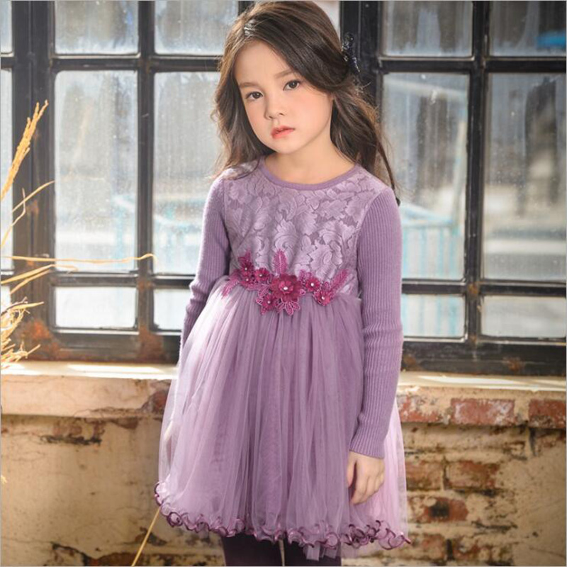 Girls Sweaters Dress Thicken Long Sleeve Cute Ball Gown Lace Patchwork Girls Sweater Dress Voile Children Wear Bottoming DressGirls Sweaters Dress Thicken Long Sleeve Cute Ball Gown Lace Patchwork Girls Sweater Dress Voile Children Wear Bottoming Dress