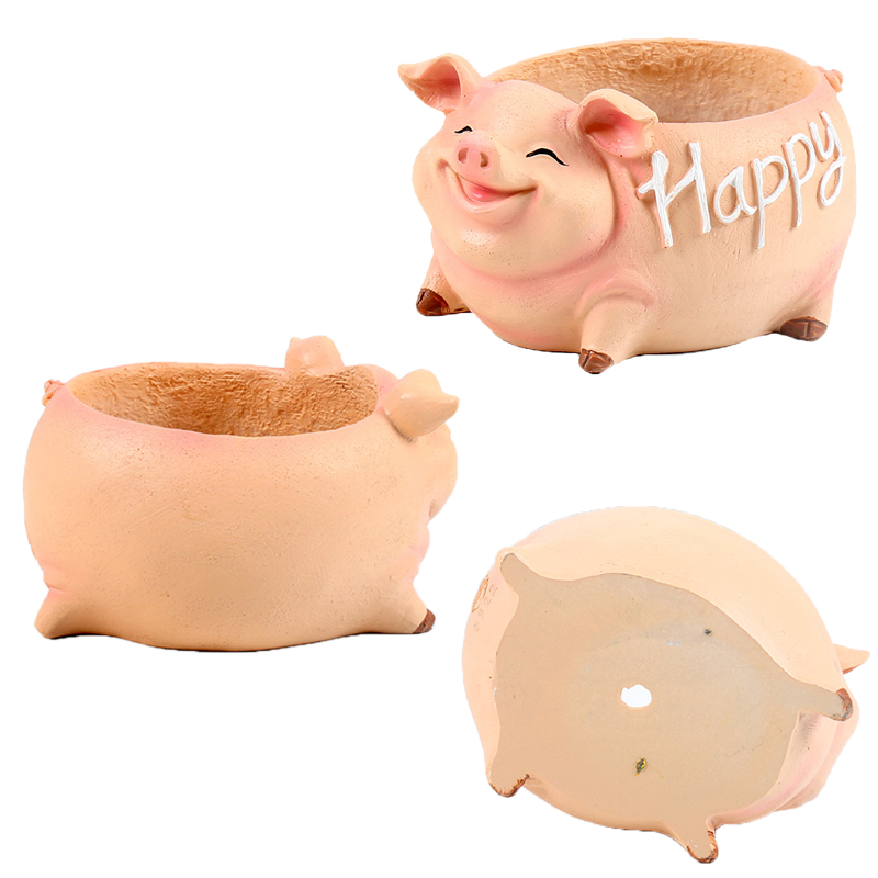 Image 5 - NEW Creative Resin Flower Pot for the Mascot of the Year of the Pig in 2019 planters for succulents succulents pots gift ideas-in Flower Pots & Planters from Home & Garden