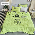 Niobomo Digital And Letter Printing Green Summer Quilt Washing Technology Comfortable Soft Bedspreads For Bedroom 1pcs