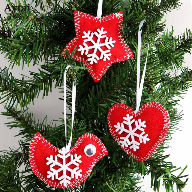 aytai 3pcs red bird heart star felt christmas tree hanging ornament felt christmas tree decorations new - Bird Christmas Tree Decorations
