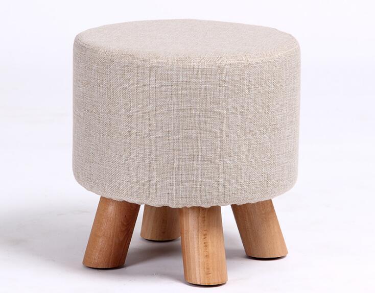 Cm quattro gambe panno di lino divano in legno sgabello pouf