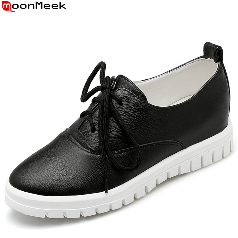 MoonMeek black white simple women shoes round toe ladies flats shoes lace up casual single shoes big size 33-43 new spring women casual platform shoes lace up round toe black pink white casual shoes women comfortble ladies shoes size 33 43