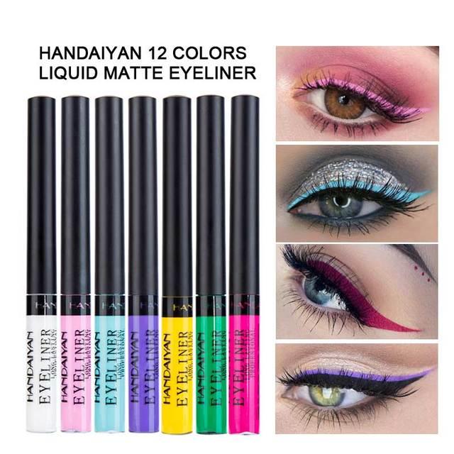 HANDAIYAN 12 Rainbow Colors Liquid Eyeliner Glitter Long Lasting Waterproof Eye Liner Liquid Eyeshadow Pigment Face Cosmetic