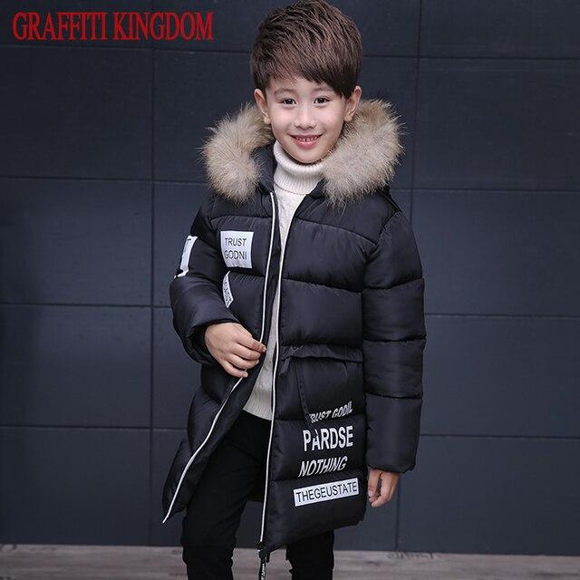 Натуральный мех мальчиков зимний пуховик Одежда для детей теплые куртки пальто детская теплая хлопковая стеганная куртка магазин при фабрике бренд