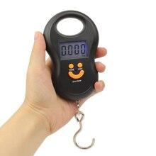 Mini báscula Digital para equipaje de pesca, 50kg x 10g, balanza de gancho electrónica para colgar, herramienta de peso de cocina