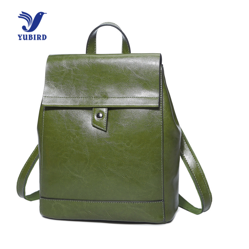 YUBIRD Genuine Leather Backpack Women Backpacks for Teenage Girls Casual Oil Wax Leather School Backpack Female Shoulder Bag new genuine leather women oil nubuck retro women backpack casual backpack casual shoulder bag bucket bag a4625