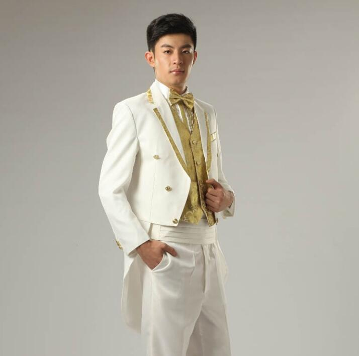White Korean Diamond Married Formal Dress Set Mens Suits Wedding