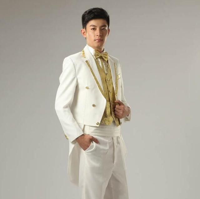 Favoriete Wit goud velg stage kleding voor mannen pak set met broek heren  RD74