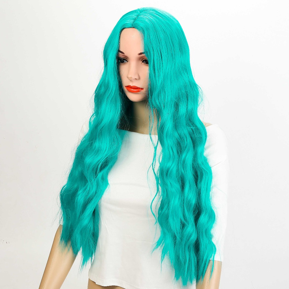 Cosplay Green Wig Synthetic Long Curly Middle Part Line Blonde Women Hair Costume Carnival Halloween Party AOSIWIG