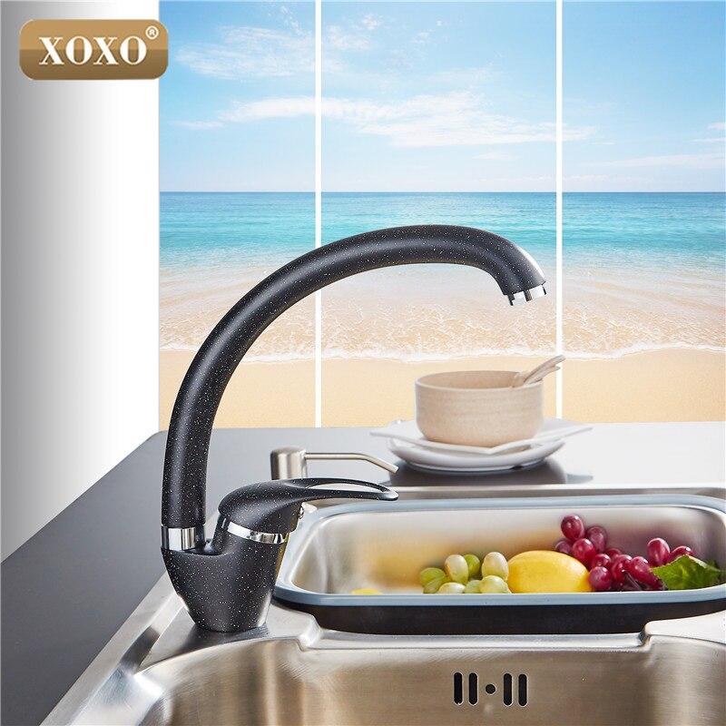 XOXO Style Moderne Maison multicolore Cuivre Robinet de Cuisine D'eau Froide et D'eau Chaude Robinet Simple Poignée Noir Blanc Kaki 3309BE - 3