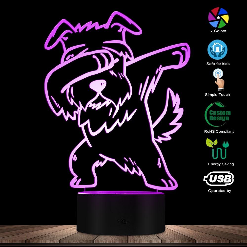 Dabbing Schnauzer Lighting 3D Optical Illusion Light USB Modern Night Lamp DAB Dog Animal Glowing LED Light Home Decor Desk Lamp