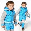 Apuramento de alta qualidade crianças conjuntos de roupas 2 pcs meninos desgaste neve engrossar quentes esqui roupa dos miúdos crianças roupas crianças outwear
