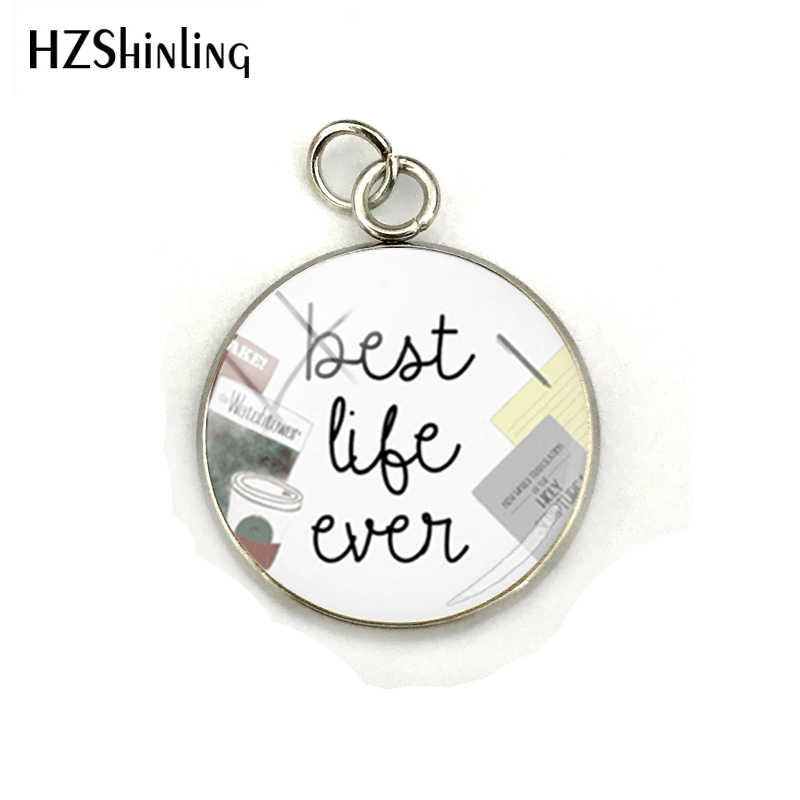 Beauty Pendant Best Life Ever Style Glass Cabochon Stainless Steel Plated Pendant Charms Jewelry Handmade Craft Accessories