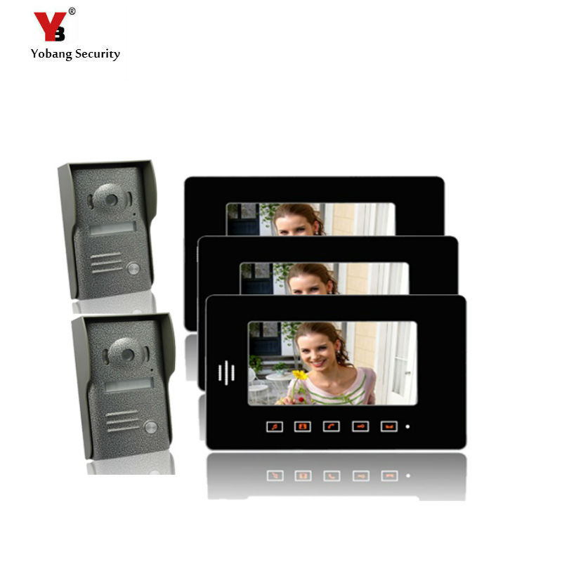 FREE SHIP7″LCD Doorphone System Touch Pad Monitor & Camera Video Intercom 3 Monitor and 2 camera for Villa door phone
