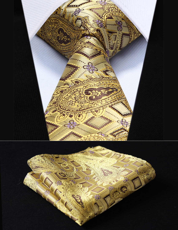 Fiesta de boda clásico de bolsillo cuadrado corbata TFC013D8S cheque de oro 3,4