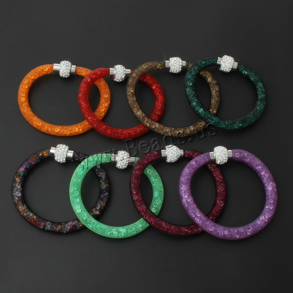 2016 Beautiful Design Wristband Multicolor Clay Crystal Magnetic Clasp Mesh Bracelet with Women Charm Bangles Bracelet