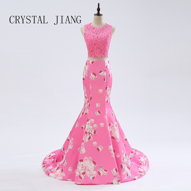 CRYSTAL JIANG Real Photo Pink Lace Applique Two Pieces Prom Gown Mermaid Long Elegant Evening Dresses 2018