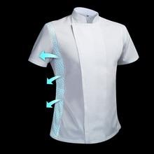 ฤดูร้อนชุดเชฟ Cook JACKET ชายเชฟสีขาวร้านอาหาร Uniform ร้านตัดผม Workwear Overalls