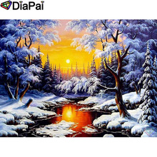 DIAPAI 100% Full Square/Round Drill 5D DIY Diamond Painting House snow scene Embroidery Cross Stitch 3D Decor A21006