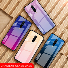 Luxury Gradient Tempered Glass Phone Cases for Oneplus 6 6T Colorful Shockproof Case 7 Pro Back Cover