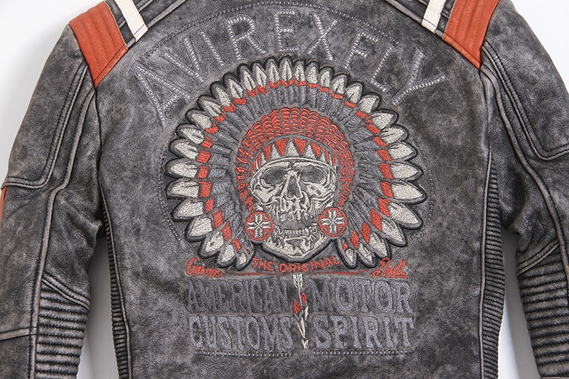 2019 Vintage Black Men Leather Motorcyclist Jacket Skull Embroidery Plus Size 3XL Genuine Cowhide Short Biker Coat FREE SHIPPING