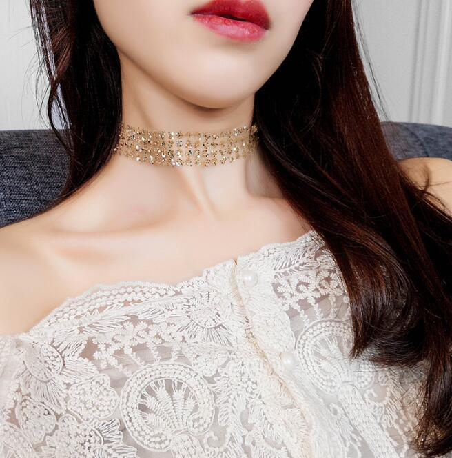 Brillant Kolye Moana Choker Amerikanischen Mode Pailletten Unsichtbare Kette Halskette Chocker Schlüsselbein Weibliche Hals Ornamente Mit Sexy Kurze