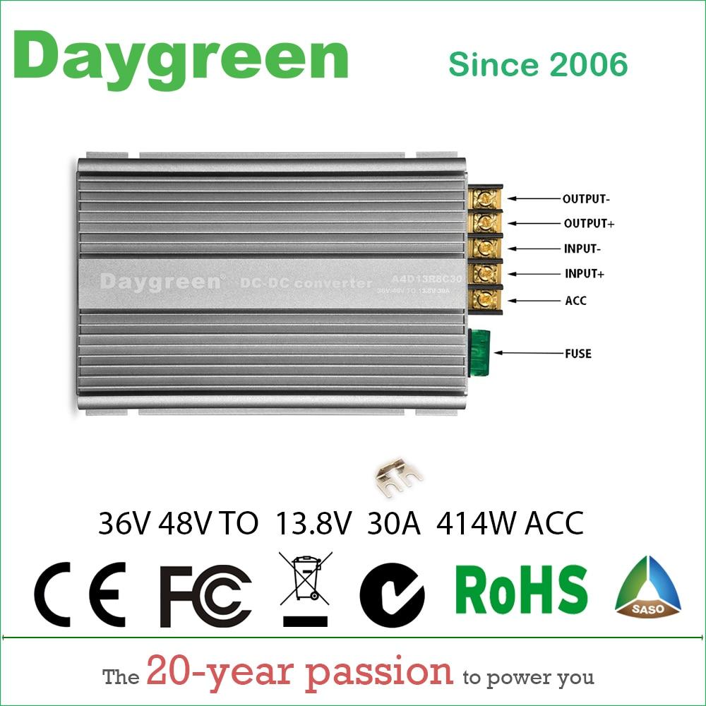 36 V 48 V ถึง 13.8 V 30A ขั้นตอนลง DC DC CONVERTER 36 V 48VDC ถึง 13.8 V DC 30 แอมป์ 414 วัตต์ A4D13R8C30 Daygreen CE RoHS รับรอง-ใน อินเวอร์เตอร์และตัวแปลง จาก การปรับปรุงบ้าน บน AliExpress - 11.11_สิบเอ็ด สิบเอ็ดวันคนโสด 1