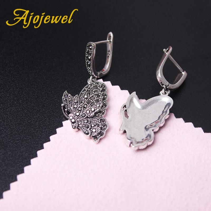 Ajojewel Women Ladies Vintage Butterfly Earrings Black Rhinestone Animal Earrings Drop Personalized Jewelry Bijoux Femme in Drop Earrings from Jewelry Accessories