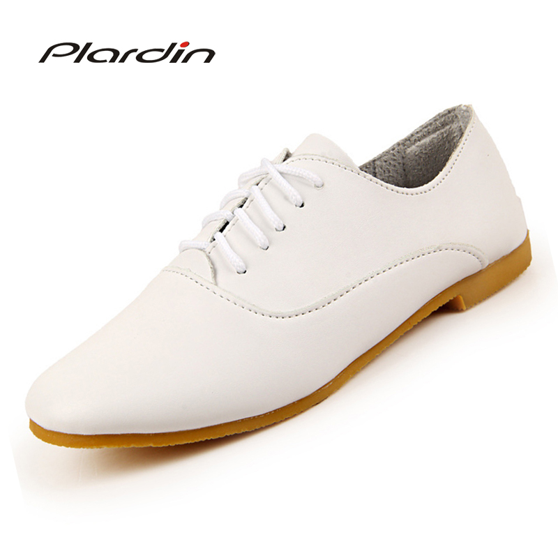 plardin 2018 Woman ballet flats pointed toe Solid lace up leather shoes Fashion Leisure women shoes pu pointed toe flats with eyelet strap