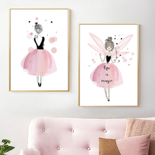 Pink Girl Princess Nursery Wall Art Canvas Painting Cartoon Nordic Posters And Prints Wall Pictures Girl Baby Kids Room Decor baby girl room decor nordic cartoon pictures for kids room posters and prints nursery simple quote cat wall art canvas painting