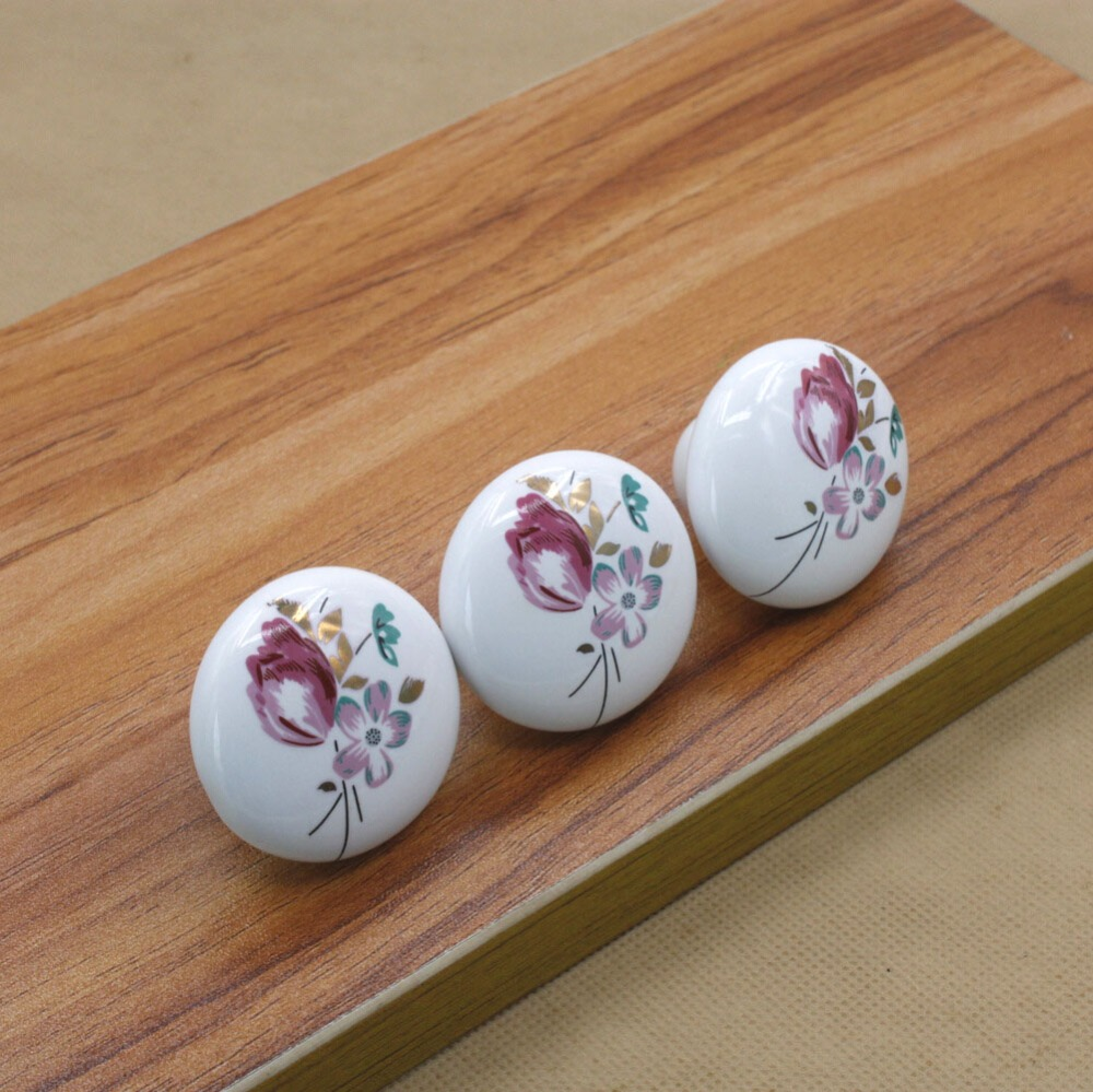 US $9.67 12% di SCONTO|38mm Rotondo decorazione mobili Pomelli in ceramica  cassetto armadio da cucina maniglia manopola porcellana porta armadio comò  ...