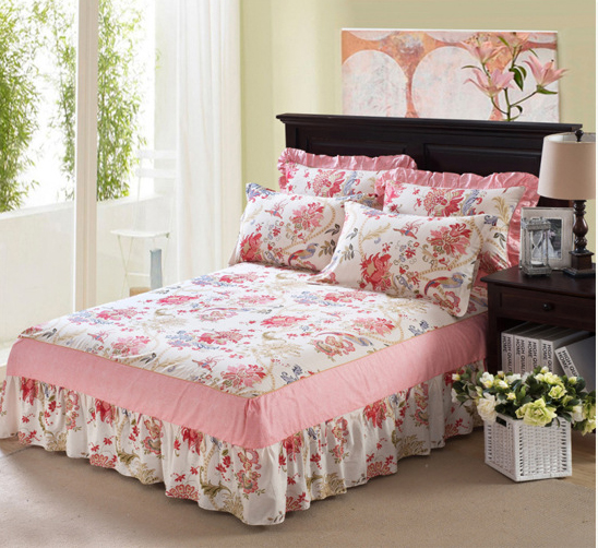 Flowers Cotton Twin Full Queen Size Bed Skirt Bedspreads Bed Skirt