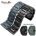 New high quality 30mm black ceramic watchband with butterfly buckle for men diesel watch bracelet