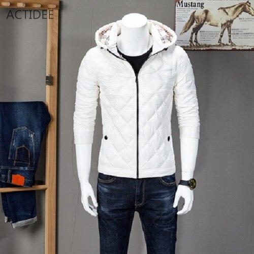 2016 NOVA Outono Inverno Pato dos homens Para Baixo Homens Jaqueta de Inverno jaquetas Casual Xadrez Para Baixo Casaco Plus Size XXXL Alta Qualidade do Navio Da Gota