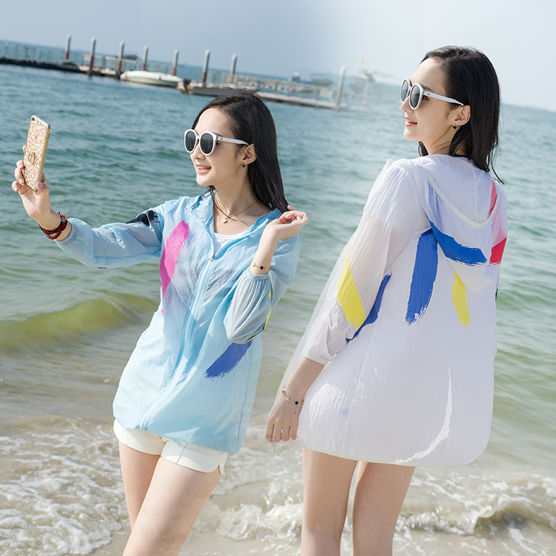 Plus Size S-4XL Summer Beach Uv Jacket Big Size Women Sun Protection Clothing Lady Perspective Big Size Loose Sunscreen Jacket
