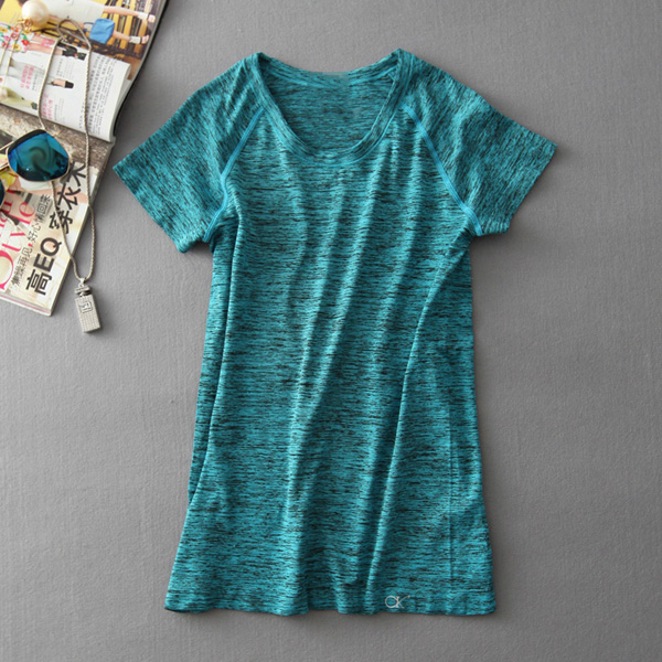 MAIJION Супер быстросохнущая женская футболка с короткими рукавами для тренажерного зала, фитнеса и йоги - Цвет: Синий