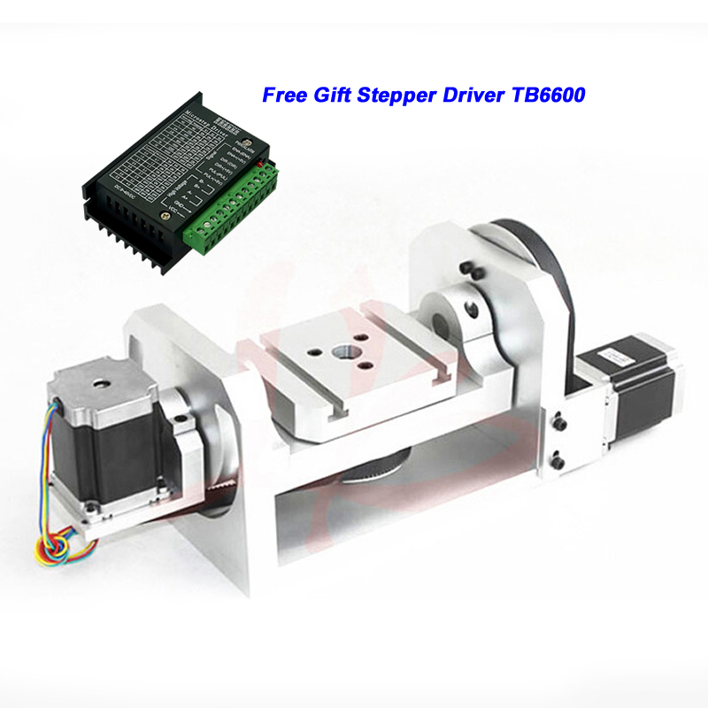 Center Height 98mm CNC 4th Axis 5th Axis A Aixs Rotary Axis with Stepper Driver TB6600 and Table for CNC Router Milling Machine