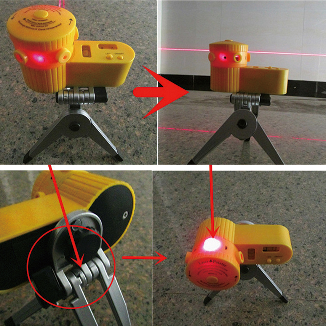 Yellow Multifunction Cross Laser Level Leveler Vertical Horizontal Line Tool With Tripod Worldwide