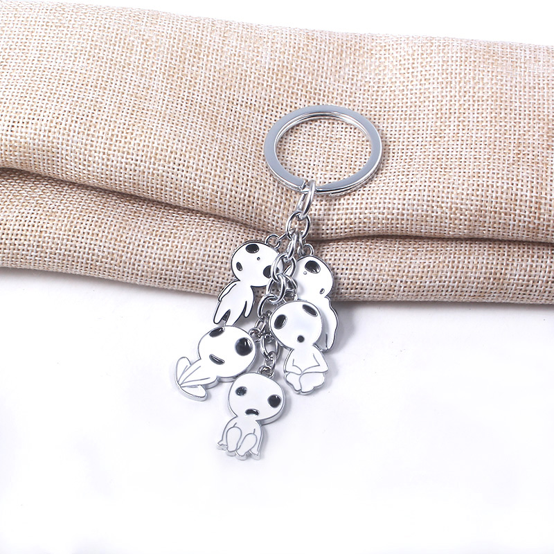 Mononoke Hime Kodama Keychain Princess Mononoke Elf Tree Elves Spirits Pendants Key Chain Car Keyring Jewelry