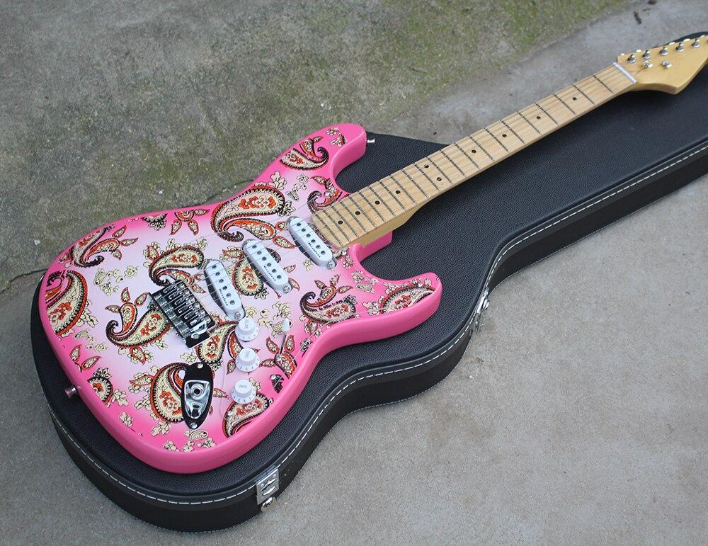 pink electric guitar with a black hardcase sss pickups maple neck chrome hardwares offering. Black Bedroom Furniture Sets. Home Design Ideas