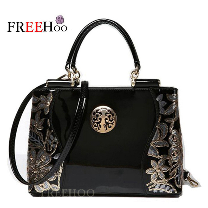 Bags for women 2019 Patent pu Leather Handbag bolsa feminina Shoulder Bag Luxury Tote Clutch Sequins
