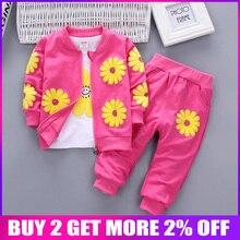 Bibicola baby girls clothing sets fashion kids girl t-shirt + coat +pant 3pcs sets children casual sport suits girl clothes suit