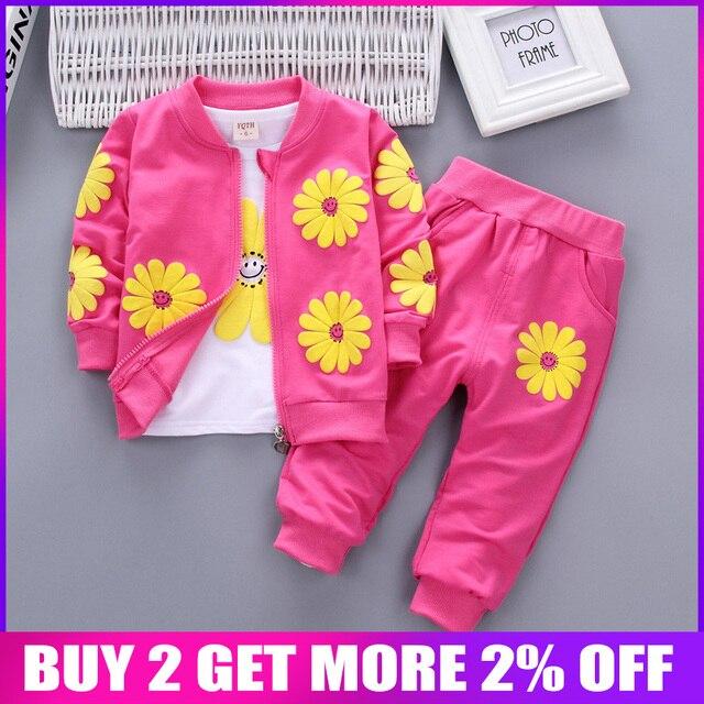 Bibicola/комплекты одежды для маленьких девочек модная детская футболка для девочек + пальто + штаны, комплект из 3 предметов детские повседневные спортивные костюмы костюм для девочек