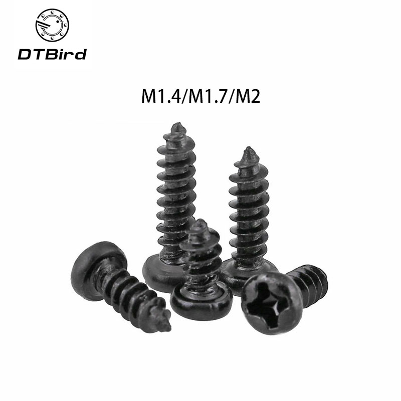 100pcs M1.4/m1.7/m2 Carbon Steel Cross Round Head Micro Laptop Screws Round Head Self-tapping Electronic Small Wood Screws Delaying Senility