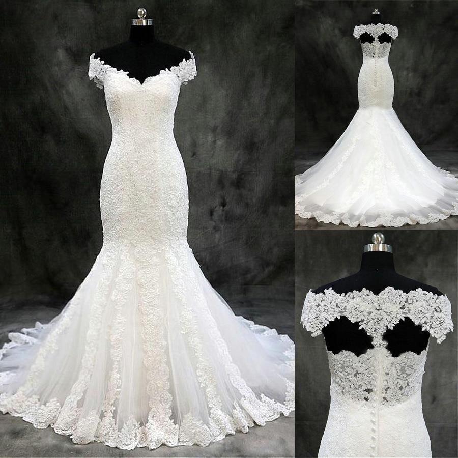 Modest Tulle Off-the-shoulder Neckline Mermaid Wedding Dresses With Original Lace Appliques Bridal Dress Vestidos De Novia